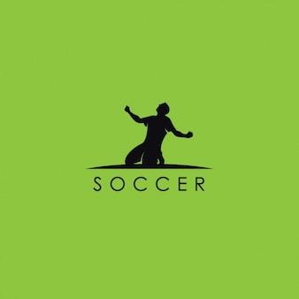 サッカーのロゴ、緑の背景