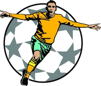 Soccer player in goal celebration