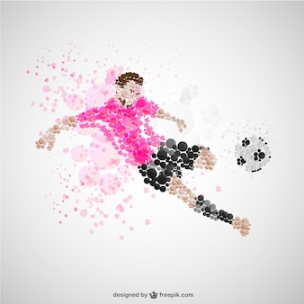 Soccer player kick vector
