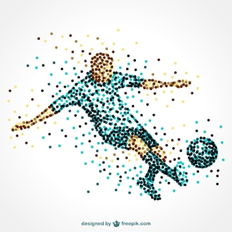 Soccer player made of dots