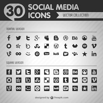 социальная плоским векторные черные иконки