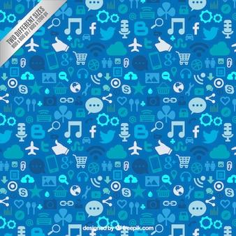 Social media background in blue tones