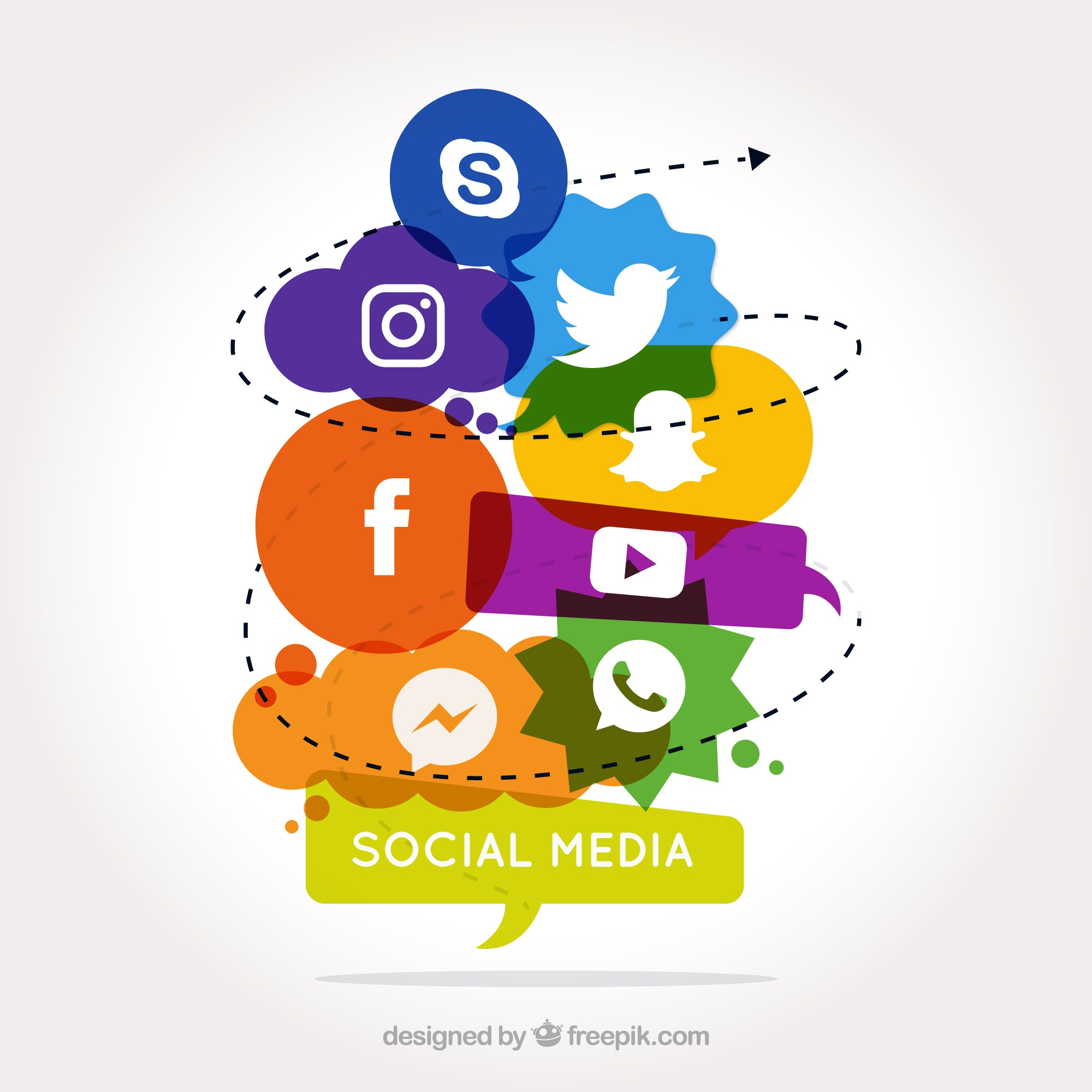 Social media background with colored forms