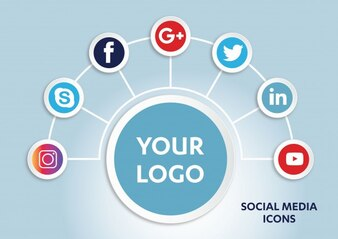 オブジェクトのソーシャルメディアの背景要素のグループ