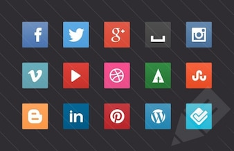Social media buttons vector pack