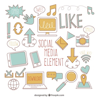 Social media elements in flat style