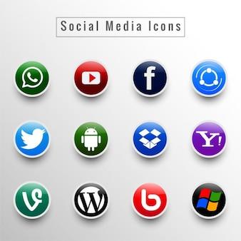 ソーシャルメディアのアイコンセット