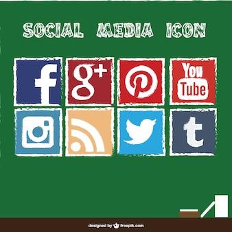 Social media icons chalkboard style