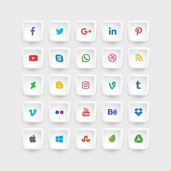 Social media icons collection in colors
