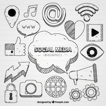 インフォグラフィックのためのソーシャルメディアのアイコン