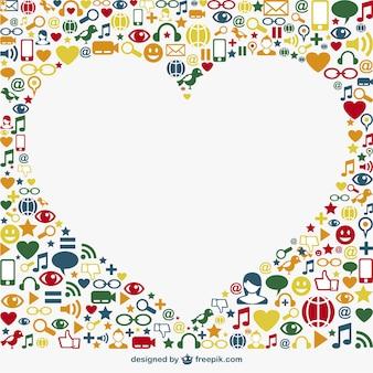 Social media icons surrounding a white heart