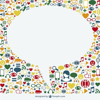 Social media icons surrounding a white speech bubble