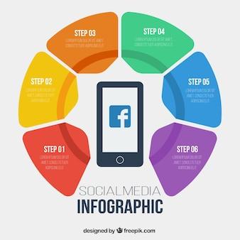 Социальные медиа инфографики с шестью шагами