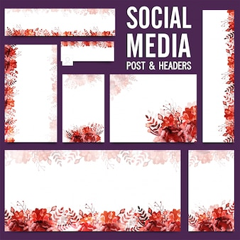 Social Media post and headers with flowers.
