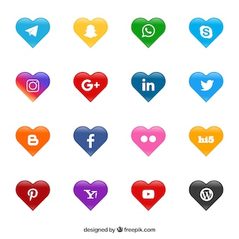 Social network logos heart shaped