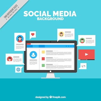 Social networking background with a computer