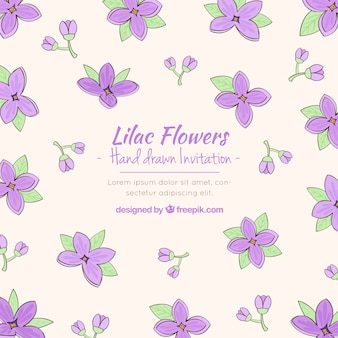 Sofisticated invitation with lilac flowers