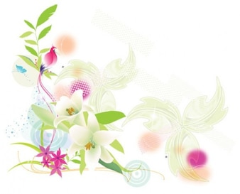 Soft exotic lily bird floral background