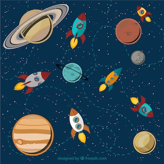 Solar system and rockets