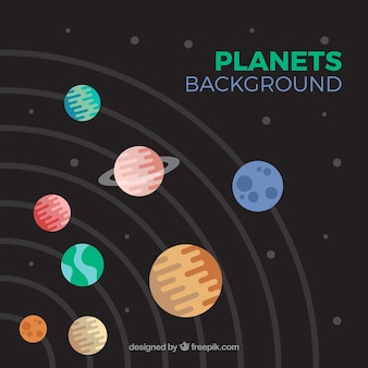 Solar system background in flat design
