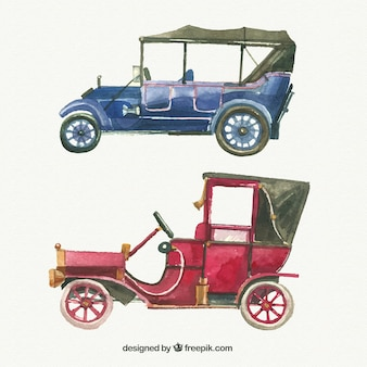 Sophisticated watercolor vintage cars