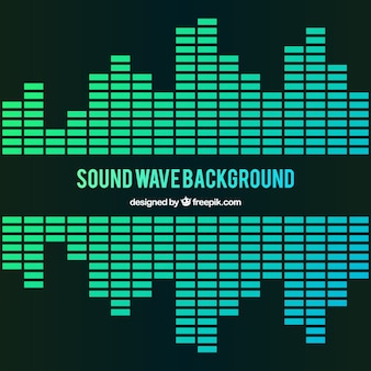 Sound wave background in green tones