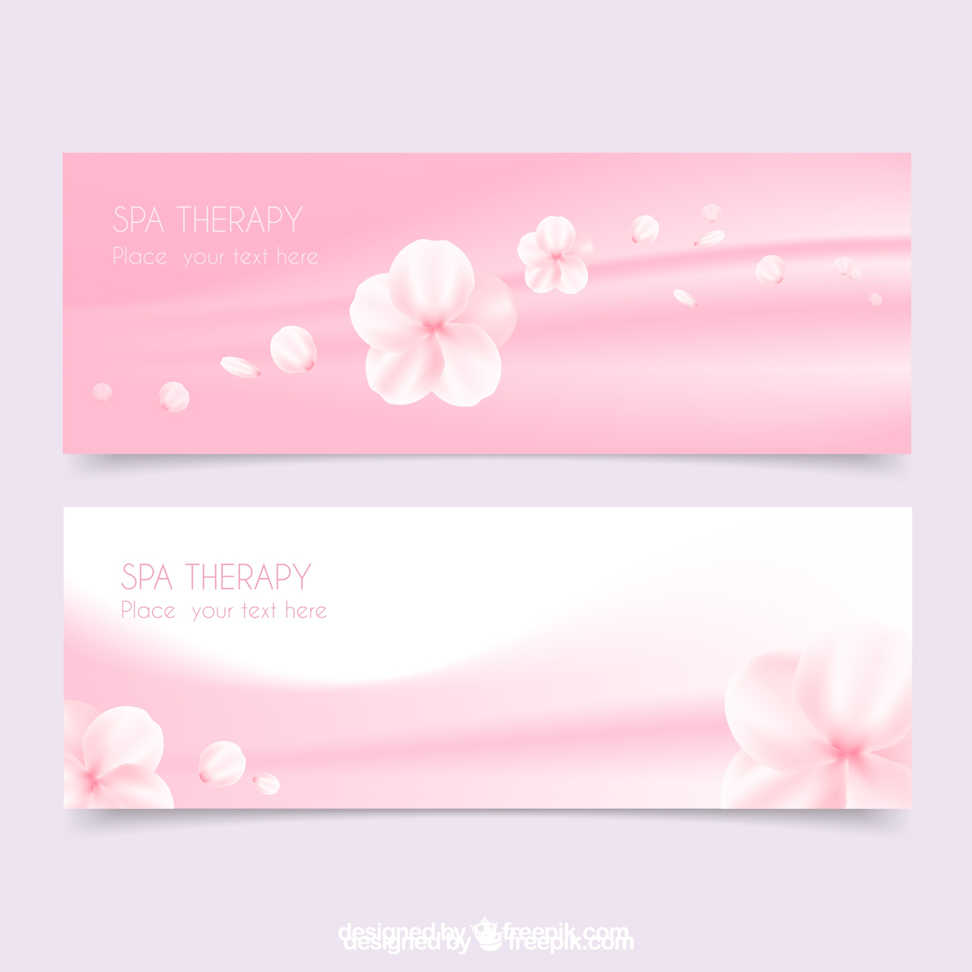Spa banners in pink color with flowers