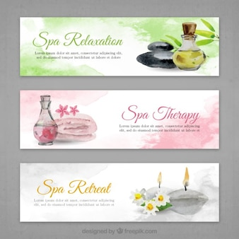 Spa banners set in watercolor effect