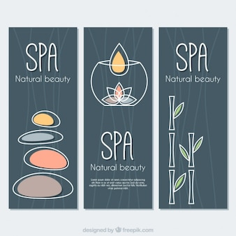 Spa banners set with drawings