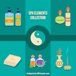 Spa elements with yin yang symbol