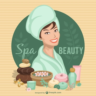 Spa woman surrounded by spa elements
