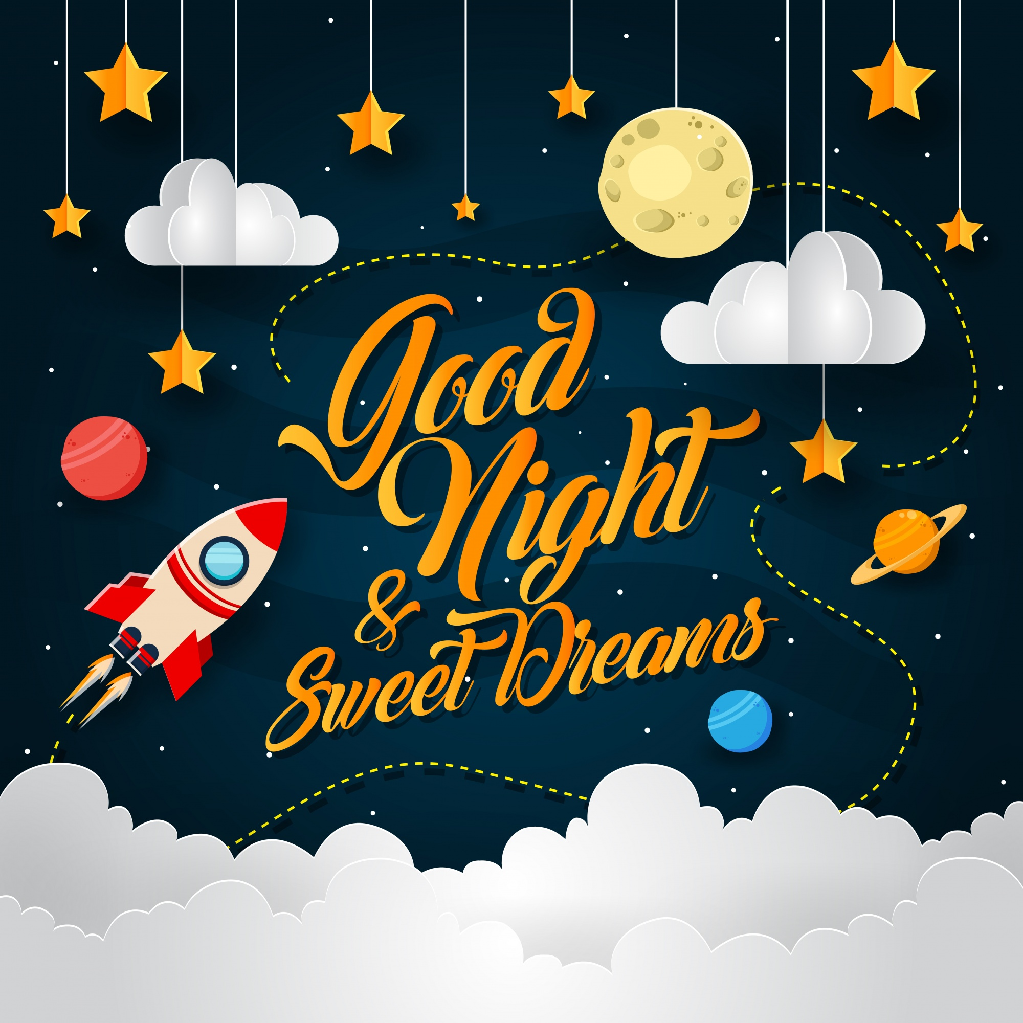 Space Adventure Paper Art Good Night Card Illustration