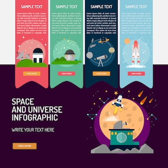Space and universe infographic design