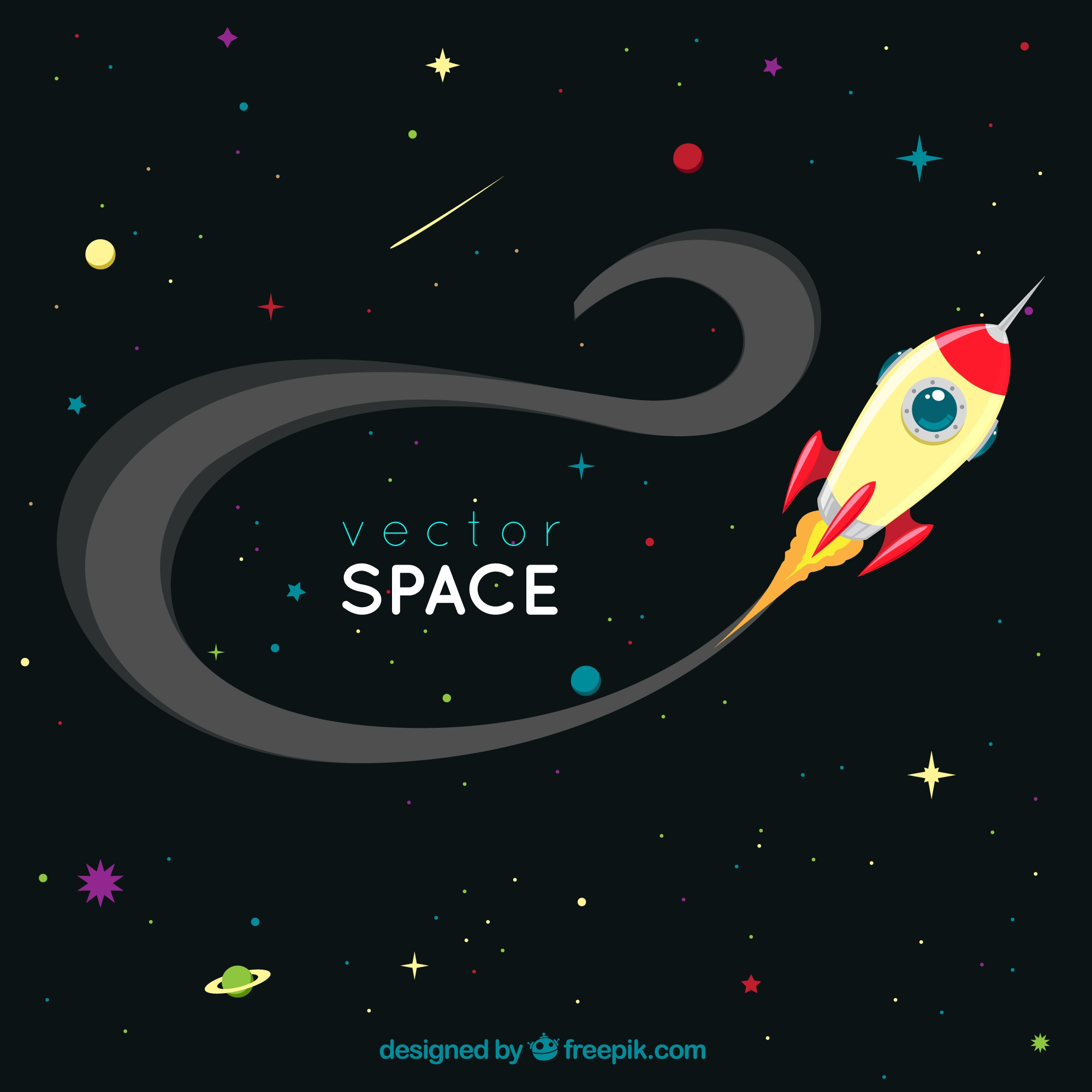 Space background with a rocket