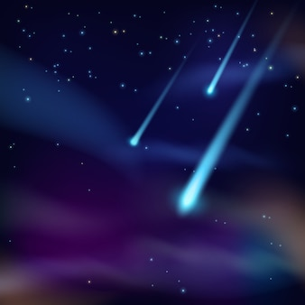Space background with meteorites