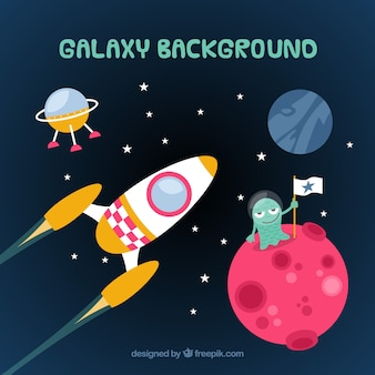 Space background with planets and rocket in flat design