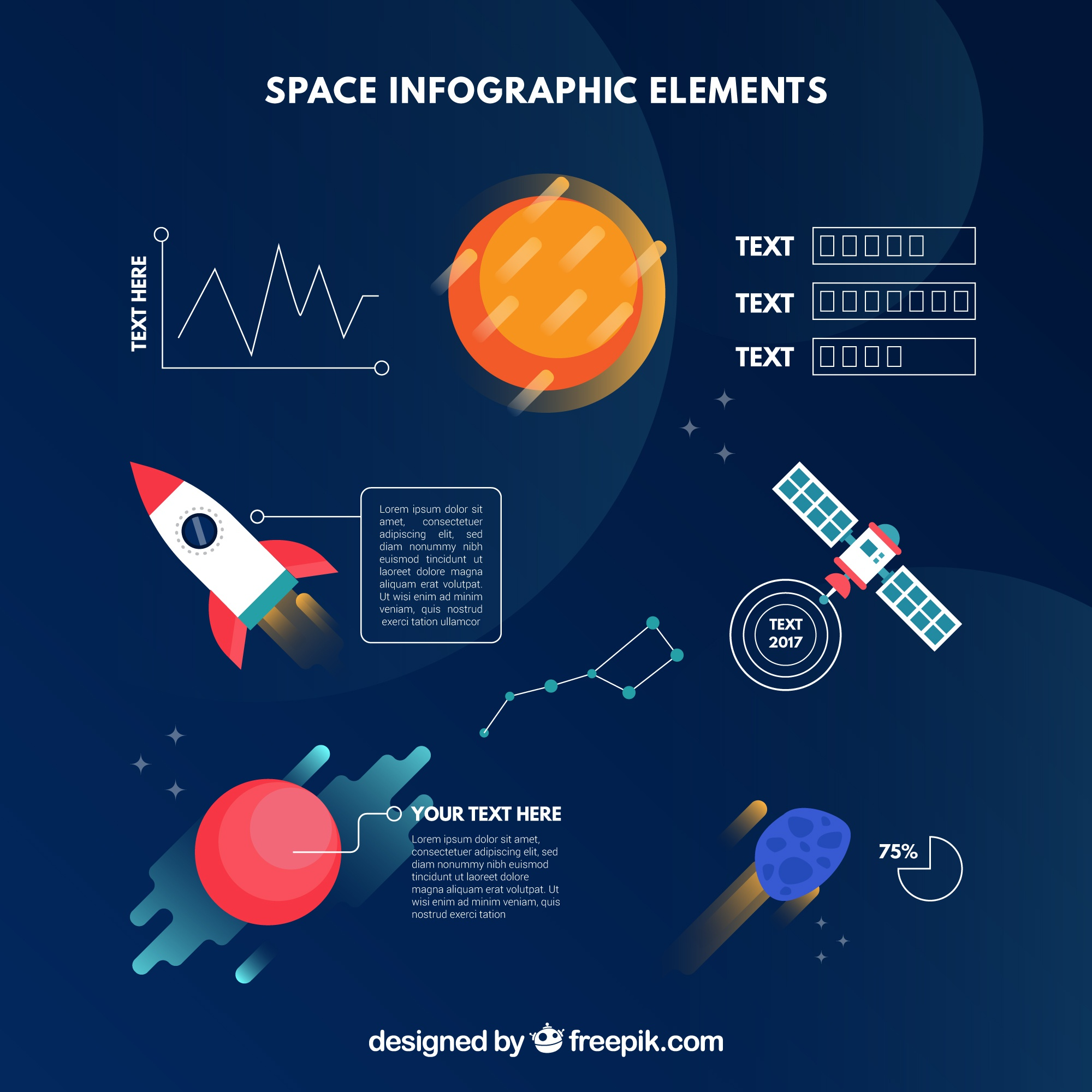 Space infographic elements