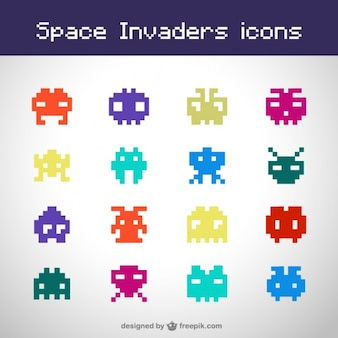 Space invaders free icons set