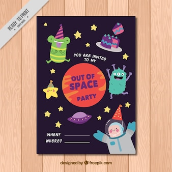 Space monsters birthday invitation
