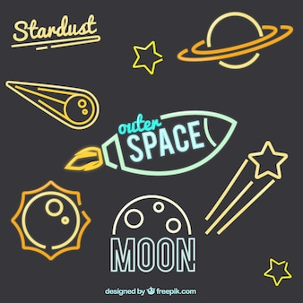 Space pack of neon signs