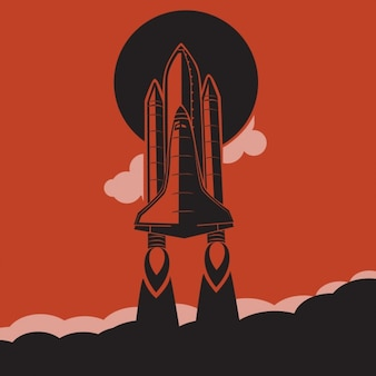 Space rocket retro background