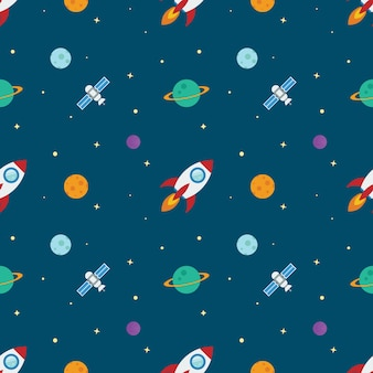 Space rocketship launch seamless pattern