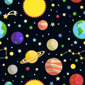 Space seamless pattern with planets stars comets and constellations on dark background vector illustration
