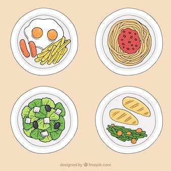 スパゲッティ、肉、卵、サラダ