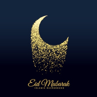 Sparkling moon design for eid mubarak