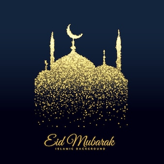 Sparkling mosque design for eid mubarak