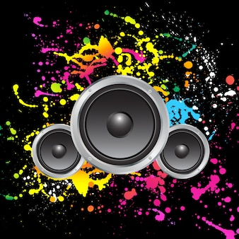 Speakers on colourful grunge background