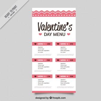Special menu of valentine