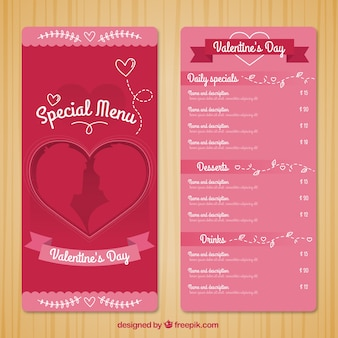 Special menu template for valentine day