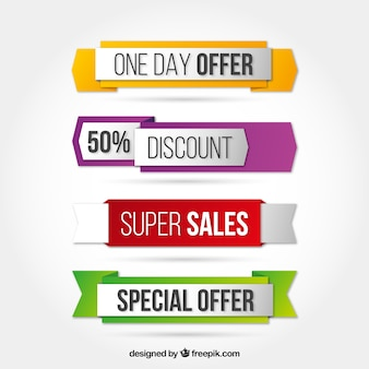 Special offer banners in colored style